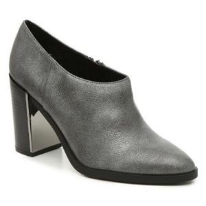 Nine West Silver Genuine Leather Mirror Ankle Boot